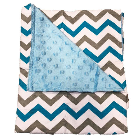 Blue Gray Chevron Minky Blanket