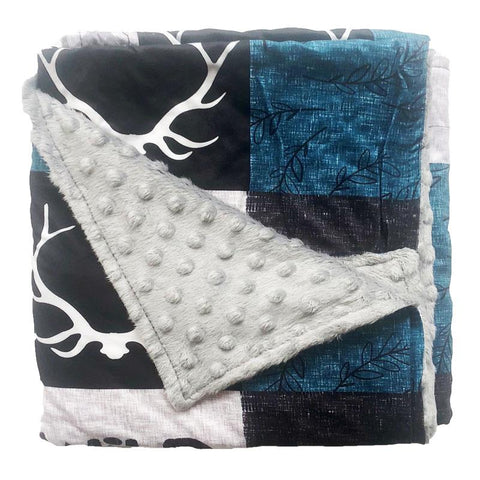 Blue Gray Deer Antler Patchwork Minky Blanket