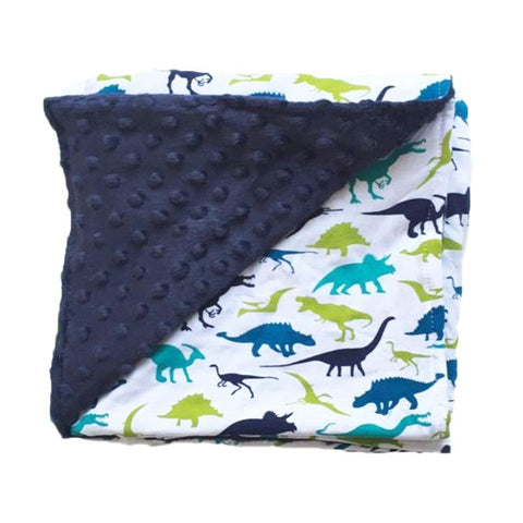 Blue Lime Dinosaur Navy Minky Blanket