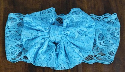 Blue Messy Bow Lace Headband