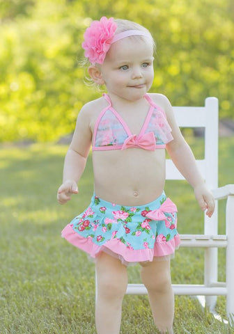 Blue Pink Vintage Rose Two Piece Swimsuit