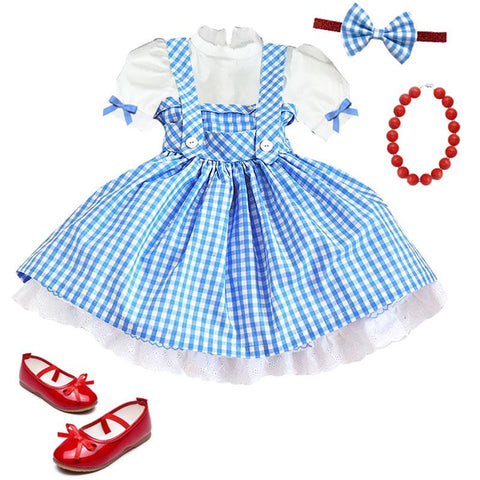 Blue Plaid Dress Costume Lace