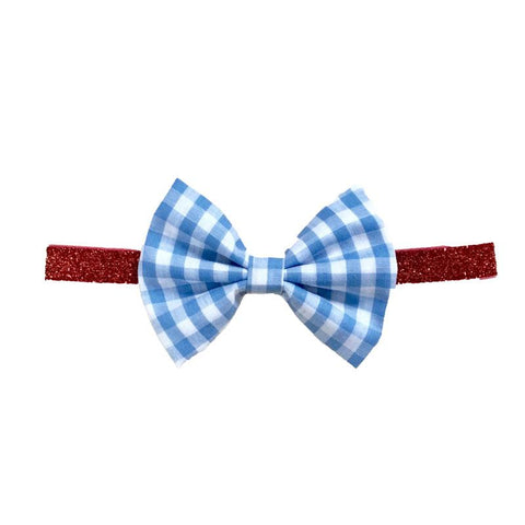 Blue Plaid Headband Red Sparkle