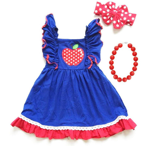 Blue Polka Dot Apple Dress Ruffle