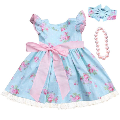 Blue Polka Dot Pink Floral Lace Dress Ruffle Bow
