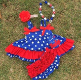 Blue Polka Red Ruffle Two Piece