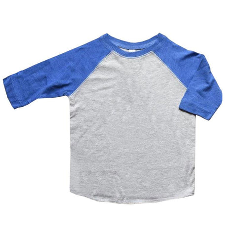 Blue Raglan Shirt Gray Three Quarter Sleeve