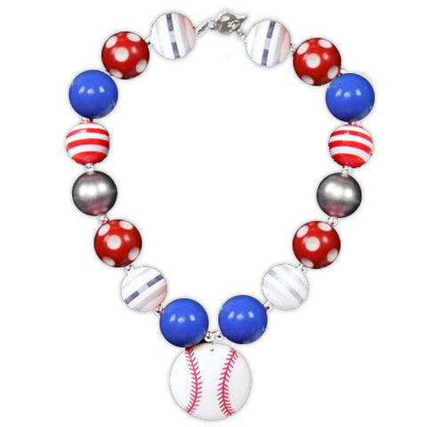 Blue Red Baseball Necklace