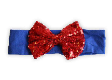 Blue Red Sequin Bow Headband