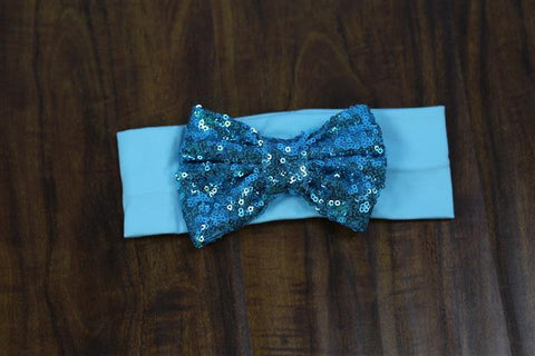 Light Blue Sequin Bow Head Wrap