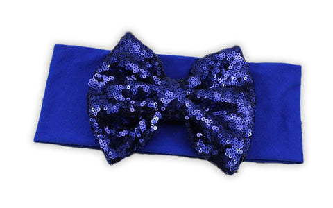 Blue Sequin Bow Headband