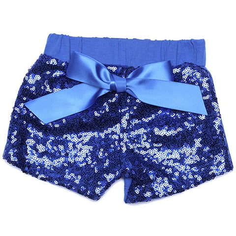 Blue Sequin Shorts Bow