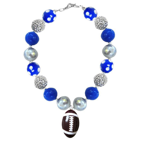Blue Silver Football Necklace Polka Dot Chunky Gumball