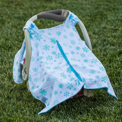 Blue Snowflake Minky Car Seat Canopy