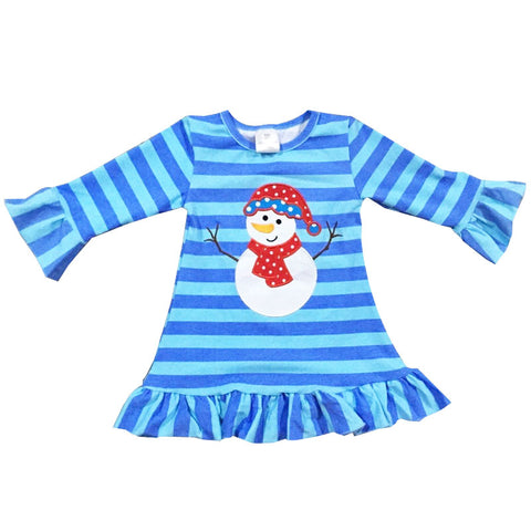 Blue Snowman Dress Polka Dot Stripe