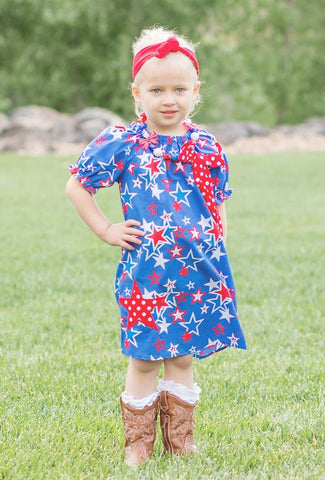 Blue Star Polka Peasant Dress