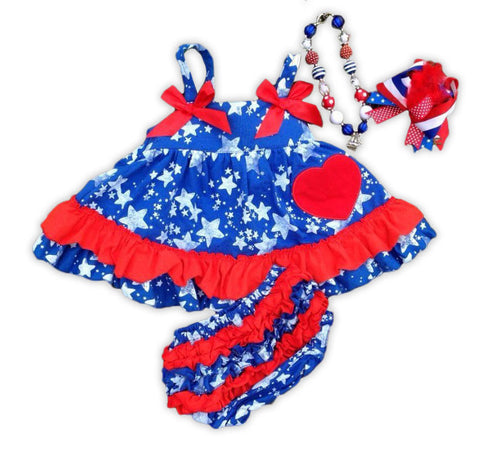 Blue Stars Heart Red Ruffle Two Piece