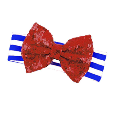 Blue Stripe Red Sequin Bow Headband