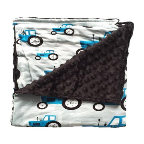 Blue Tractor Black Minky Blanket