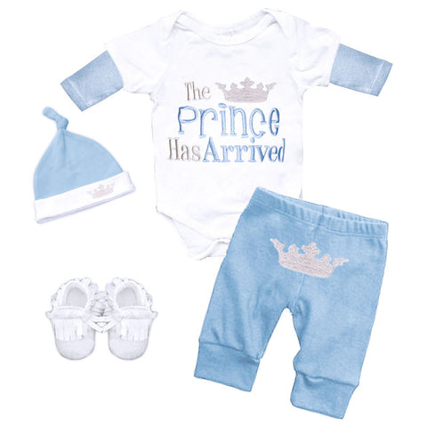 Blue White Prince Arrived Onesie Pant Set