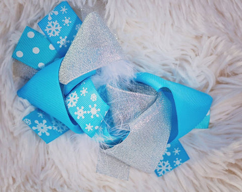 Blue White Snowflake Hair Bow