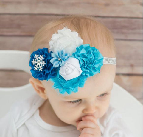 Blue - White - Snowflake Headband