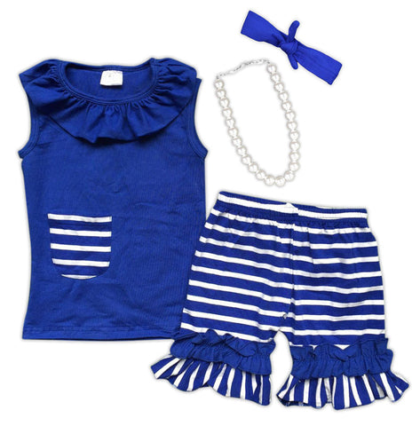 Blue White Stripe Shorts Set