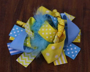 Blue Yellow Polka Bow