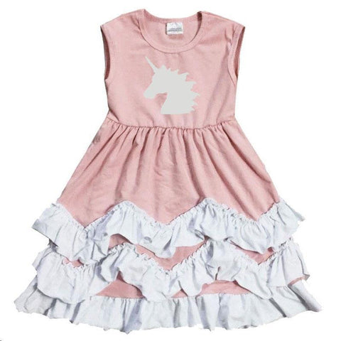 Blush Chevron Unicorn Dress Silver Sparkle