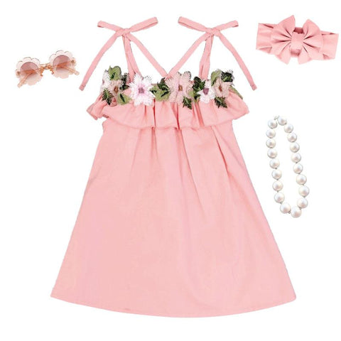 Blush Floral Dress Tie Bow
