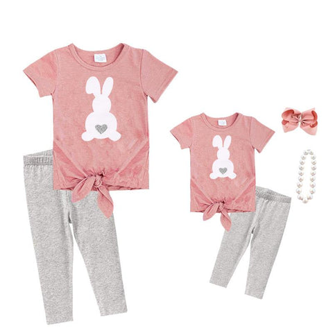 Blush Gray Bunny Outfit Knot Top And Capri Mommy Me