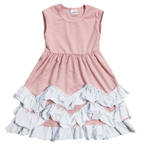 Blush Layered Chevron Dress White Ruffle