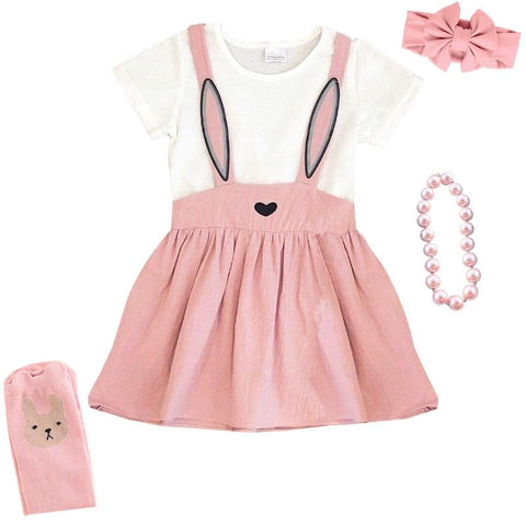 Blush Pink Bunny Gray Ears Dress