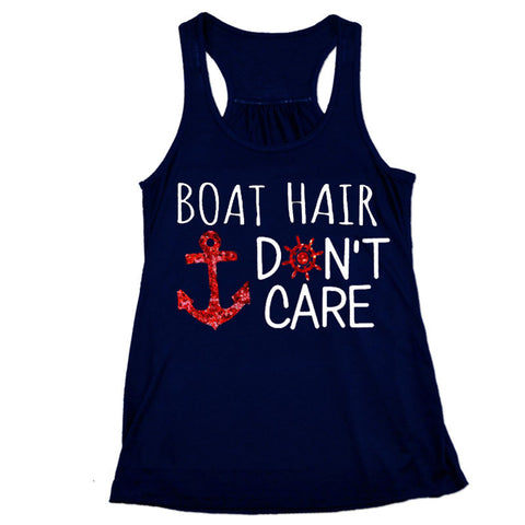 Boat Hair Dont Care Navy Tank Top