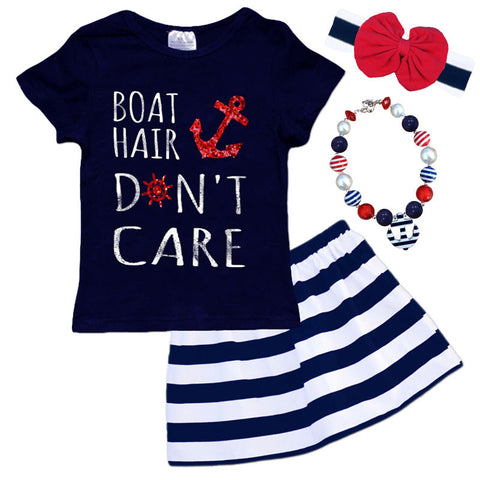 Boat Hair Navy Stripe Anchor Top And Skirt