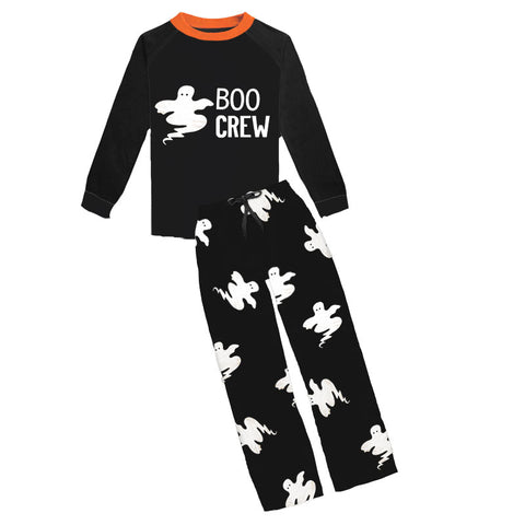 Boo Crew Black Orange Ghost Pajamas Adult