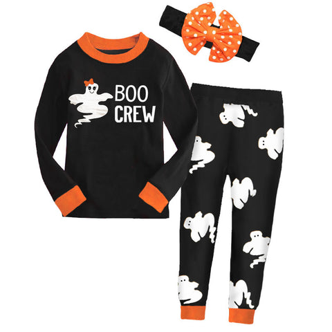 Boo Crew Black Orange Ghost Pajamas Girl