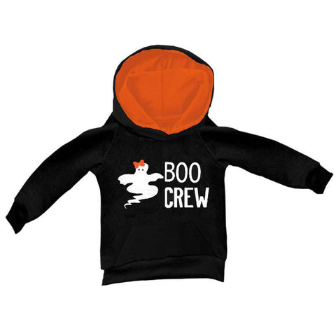 Boo Crew Hoodie Ghost Black Orange Girl