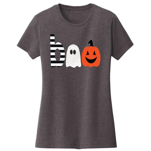 Boo Ghost Pumpkin Shirt Gray