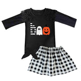 Boo Plaid Outfit Pumpkin Black Lace Flower Top And Skirt