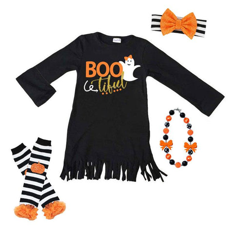 Boo Tiful Ghost Dress Fringe Black