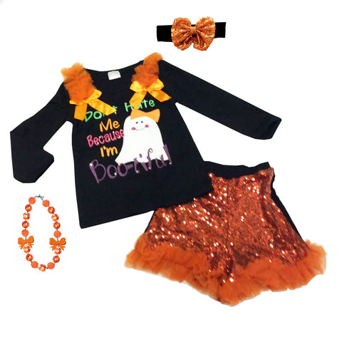 Bootiful Ghost Outfit Orange Sequin Shorts Black Top