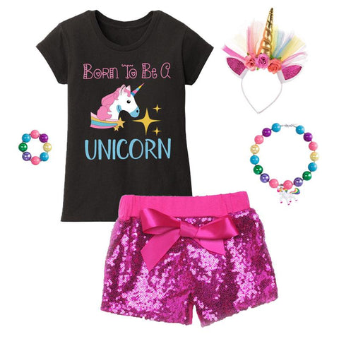 Born To Be A Unicorn Outfit Hot Pink Sequin Top And Shorts
