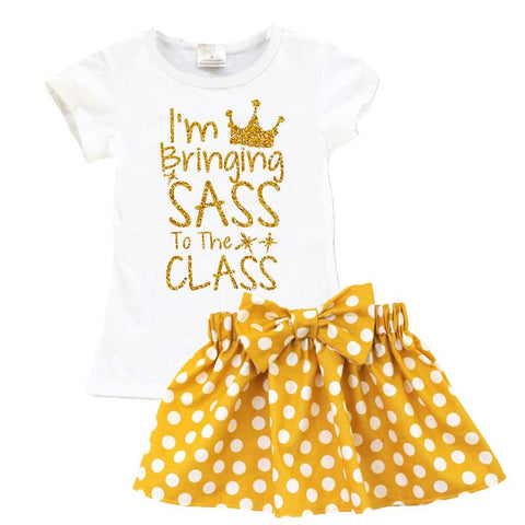 Bringing Sass To Class Outfit Gold Sparkle Mustard Top And Skirt