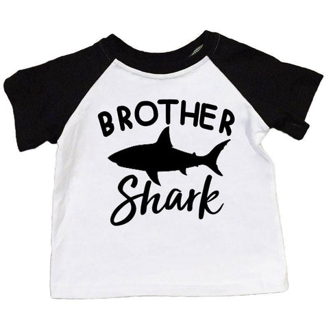 Brother Shark Shirt Black Raglan Boy