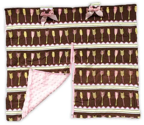 Brown Arrows Pink Minky Car Seat Canopy