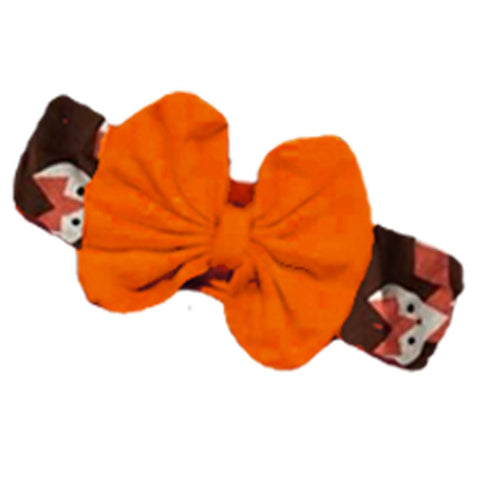 Brown Fox Orange Messy Bow Headband