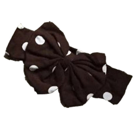 Brown Headband Dark Chocolate Polka Dot Messy Bow