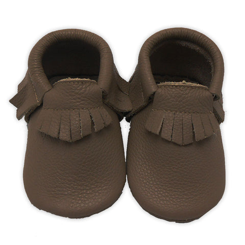 Brown Leather Moccasin Boy Shoes