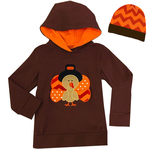 Brown Orange Pilgrim Turkey Hoodie